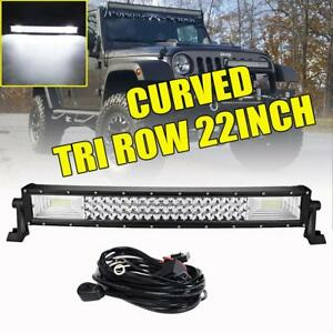 Tri Row 22inch 1296w Curved Led Work Light Bar Spot Flood Jeep Truck Boat 23 20