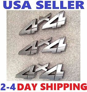 X3 Chrome 4 X 4 Emblem 3d 4x4 Logo Decal Door Side Fenders Ornament Fit All Cars