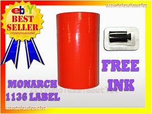 Fluorescent Red Labels For Monarch 1136 Pricing Gun 1 Sleeve 8rolls