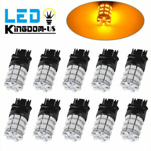 10x Amber Yellow 3157 3156 60 Smd Led Daytime Running Interior Light Bulbs 4157