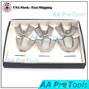 Aa Pro Set Of 6 Dental Autoclavable Metal Impression Trays Stainless Steel