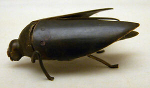 Japanese Meiji Bronze Okimono Bug W Copper Eyes
