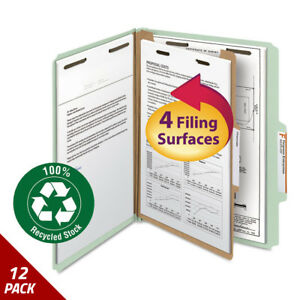 Classification Folder One Divider 2 Exp 2 5 Cut Letter Gry green 10ct 12 Pack