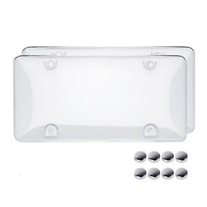 New Clear License Plate Cover Bug Shield Bubble 2 Plastic Car Auto Tag Protector