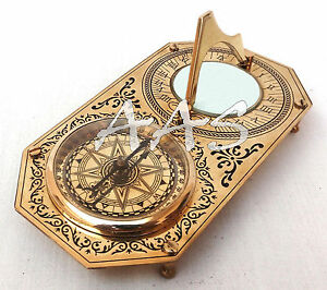 Rectangle Brass Garden Sundial Compass Nautical Maritime Navigation Astrolabe