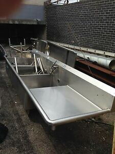 Stainless Steel 3 Compartment Sink W Food Prep Table