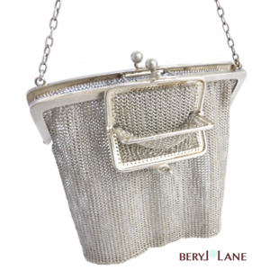 Vintage English Sterling Silver Mesh Chatelaine Bag With Built In Coin Purse
