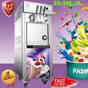 110v Commercial Soft Serve Ice Cream Freezer Machine 3 Flavor 20 30l h 1800w Lcd