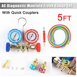 R12 R22 R502 R134a Diagnostic Manifold Gauge Set 5ft Hose A c Refrigeration
