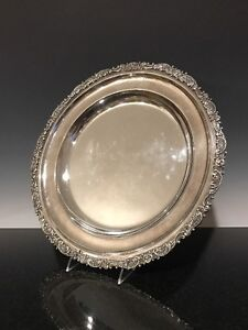 Antique Reed Barton Silver Soldered 14 5 Decorated Cocktail Tray