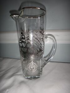 Sterling Silver Overlay Glass Cocktail Mixer Pitcher Ship Map Boston Cape Cod