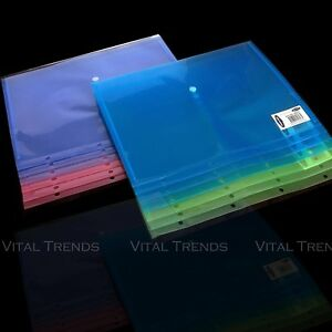 A4 Plastic Stud Document Wallets Files Folders Ring Binder Coloured X 12