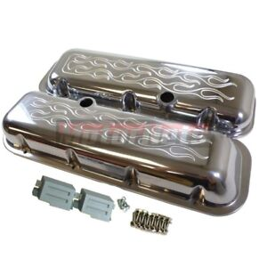 Big Block Chevy Polished Aluminum Flame Fire Top Short Valve Covers Bbc 396 454