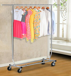 Heavy Duty Stainless Steel Clothing Garment Rolling Collapsible Rack Hanger Us