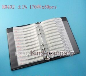 Smd Resistor Assorted Book Kit 0402 1 1 16w 50x 170 Values 8500pcs 0r 10m