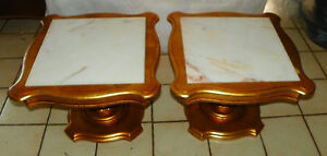 Pair Of Mid Century Gold Gilded Marble Top End Tables By Weiman Rp T611