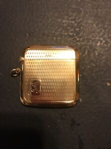 9k Yellow Gold Match Safe Deakin And Francis 1890 Birmingham