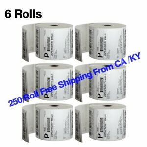 6 Rolls 250 roll 4x6 Direct Thermal Shipping Mailing Label Zebra 2844 Usps Ups