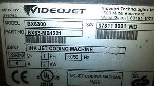 Bx6300 Videojet Single Head Printer Used In Great Condition