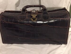 Vintage Upjohn Brown Leather Moc Croc Genuine Cowhide Doctors Medical Bag