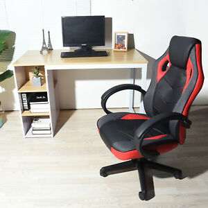 Executive Swivel Game Office Chair Race Car Style High Back Black