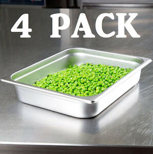 4 Pack Half Size Stainless Steel 2 1 2 Deep Steam Prep Table Pan Chafing Dish