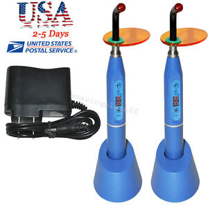 2x Dental 5w Wireless Cordless Led Curing Light Lamp 1500mw Blue For Dentist