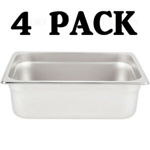 4 Pack Half Size Stainless Steel 4 Deep Steam Prep Table Pan Buffet Hotel 1 2