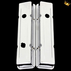 Small Block Chevy 3 Hole Short Valve Covers For 327 350 383 400 Engines Chrome