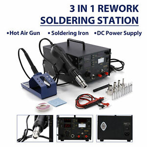 800w 853d 3 in 1 Smd Rework Station Hot Air Gun Soldering Iron Dc Power Supply