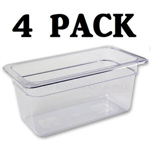 4 Pack 1 3 Size Polycarbonate Clear Plastic Steam Prep Table Food Pan 6 Deep