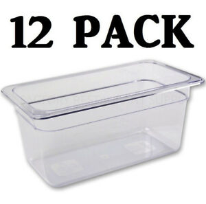 12 Pack 1 3 Size Polycarbonate Clear Plastic Steam Prep Table Food Pan 6 Deep