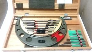 Used Mitutoyo 6 12 Outside Micrometer Set 104 138 Complete W Wood Case