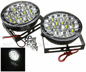 Bright White 12v 18 Led Round Daytime Running Light Drl Car Fog Day Driving Lamp