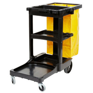 Rubbermaid 6173 88 3 Shelf Janitor Cart With Vinyl Zippered Bag 6906173