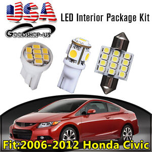11pcs Interior Led Light Bulb Package Kit White For 2006 2012 Honda Civic Car Us