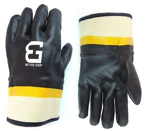 Better Grip Heavy Duty Sandy Finished Chemical Resistant Pvc Glove bg105blk yel