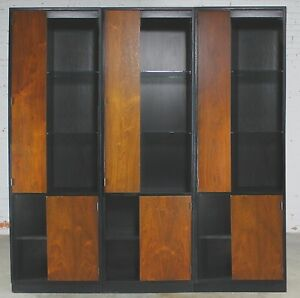 Vintage Harvey Probber Alternating Door Display Cabinets Rosewood