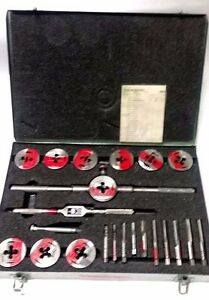Used Greenfield Tap Die Set 1 4 1 2 W Metal Case Usa good Condition