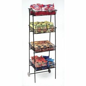 Retail Mobile Display Wire Rack 4 Tier Wire 56260 Black