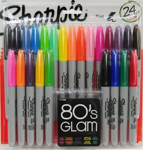 Sharpie Permanent Markers Fine Point Pens 80s Glam Colors 24 Pack Stationery Art