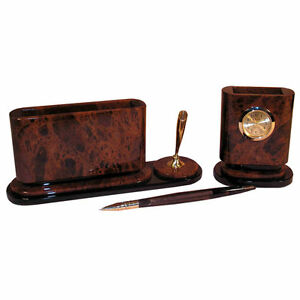 Natural Obsidian Office Desk Organizer With Clock Pencil Box Paper Tray