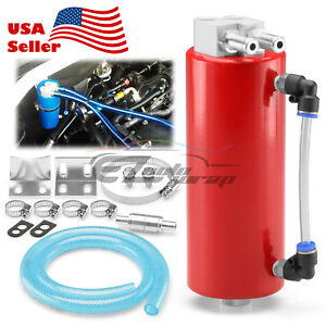 Red High Capacity Aluminum Engine Oil Catch Tank Reservoir Breather Can 1