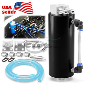 Black High Capacity Aluminum Engine Oil Catch Tank Reservoir Breather Can 1