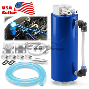 Blue High Capacity Aluminum Engine Oil Catch Tank Reservoir Breather Can 1