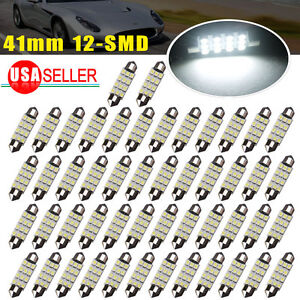 50x 42mm Festoon Led 12smd Courtesy Map Interior Light Bulb Lamp 6000k White Us