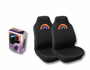 Brand New Rainbow Lgbt Pride Auto High Back Seat Covers 2pc Set