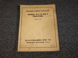 Allis Chalmers H3 Hd3 Crawler Dozer Tractor Dealers Parts Catalog Manual Book