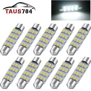 10x 41mm Led 12smd Interior Light Bulb Festoon Dome Map Lamp 6000k Super White