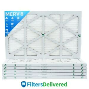 16x25x1 Merv 8 Pleated Ac Furnace Air Filters 6 Pack